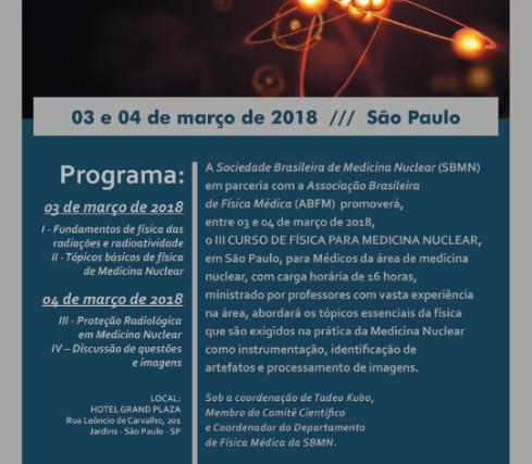 Inscrições para o 3° Curso de Física para Medicina Nuclear encerram no dia 26/02