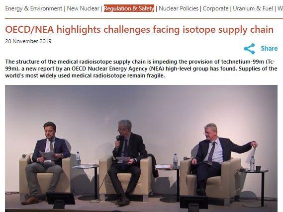 OCDE / NEA destaca desafios enfrentados pela cadeia de suprimentos de isótopos e divulga documento